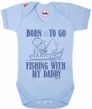 Funny Baby Grow Born To Go FISHING With Daddy Boys Baby Shower Gift Newborn
