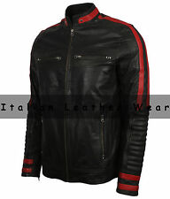 Men Motorcycle Biker Cafe Racer Black & Red Vintage Classic Real Leather Jacket