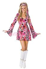 Ladies Costume Fancy Dress 90s 70s (4018) Retro Hippie Disco Go Go sz 8-14