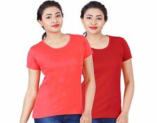 Fleximaa Women's Cotton Round Neck T-Shirt (rwcoralred-rwred)