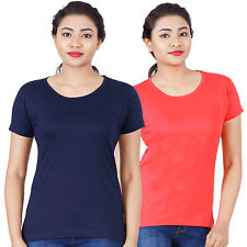 Fleximaa Women's Cotton Round Neck T-Shirt (rwnavyblue-rwred)