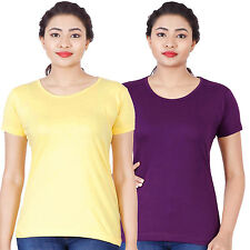 Fleximaa Women's Cotton Round Neck T-Shirt (rwyellow-rwpurple)