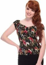 Collectif Dolores 50s Style Lanai Black Floral Hibiscus Print Top