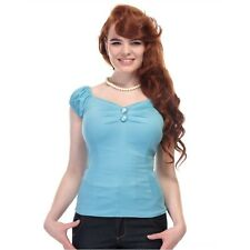 Collectif Dolores 50s Vintage Style Light Blue Gypsy Top