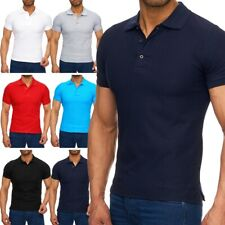 Herren kurzarm Uni Poloshirt Kragen T-Shirt Polo einfach basic Slim-fit AS