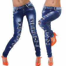 Women's Skinny Jeans Trouser Clubbing Ladies Destroyed Denim Pant Size 6 8 10 12