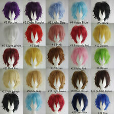 Fashion Straight Red Wig /Pink Wig /Black Wig/ Mixed Short Cosplay Wigs+Wig Cap