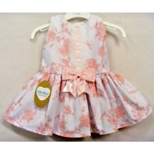 NEW KINDER GIRLS BABY PINK & WHITE ROSE BOW SPANISH STYLE DROP WAIST DRESS 3m-2y