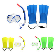 Diving Snorkel Set, Snorkel/Fins/Tempered Glass Lens Mask, Blue/Yellow/Green