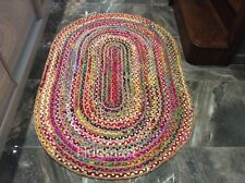 NATURAL JUTE & RECYCLED COTTON Multi Colour OVAL Braided Reversible RUGS -40%OFF