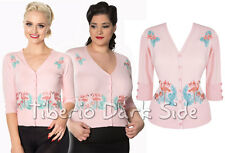 Banned Face To Face Flamenco Rosa Pin Up Retro Rockabilly Vintage Mujer Cardigan