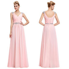 Long Chiffon Bead Evening Formal Party Ball Gown Prom Bridesmaid Dress Size 4~18