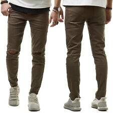 Sixth June M2448 Herren Jeans Hose Denim Biker Slim Fit Zerrissen Khaki 28-36