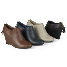 Brinley Co Womens Faux Leather Tassel Wedge Ankle Booties New