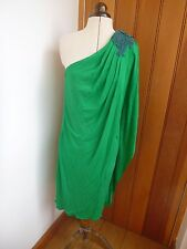BADGLEY MISCHKA EMERALD GREEN DRAPEY GRECIAN APPLIQUE BEADED INA DRESS UK 8 4