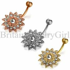 14G Flower Dangle Belly Button Ring Body Piercing Navel Barbell Surgical Steel