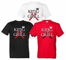 King of the Grill Maglietta Re del Barbecue T-Shirt BBQ Divertente Uomo