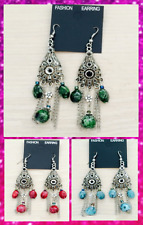 Art Deco Tibetan Silver 3 Colours Classic Design Hook Dangle Drop Earrings UK