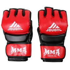 PU Half Fingers Grappling Gloves Boxing Gloves Red and White/Black Color