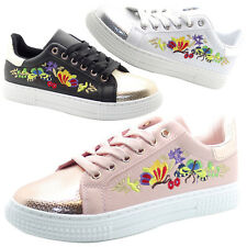 New Ladies Flower Embroidery Pumps Women Soft Bed Shoes Plimsolls Trainers Boots