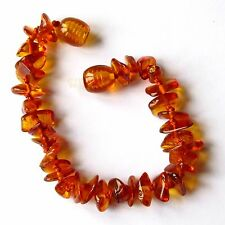 Natural Baltic amber bracelet anklet, children amber baby to teen sizes, cognac