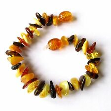 Natural Baltic amber bracelet anklet, children amber baby to teen sizes, multi