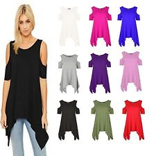 womens hanky cut out cold shoulder ladies baggy shirt top tunic dress 8 - 26