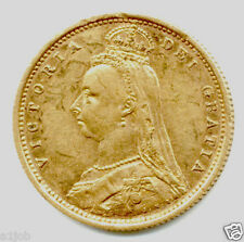 1887 S QUEEN VICTORIA SIDNEY  HALF GOLD SHIELD BACK SOVEREIGN COIN