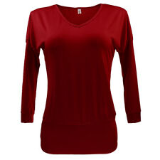 Sexy Womens V Neck Long Sleeve Basic Tunic Top Blouse Shirts Red