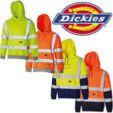 DICKIES Hi Viz Vis High Visibility Hoody Hooded Fluorescent Two Tone Sweatshirt