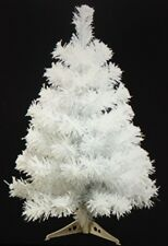 Snow White PreLit Artificial Christmas Holiday Tree Flocking 3 Ft Clear Lights