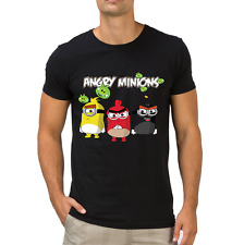 Fanideaz Men's Round Neck Cotton Angry Minions Black T-Shirt (FMCT0333B)