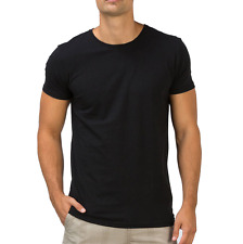 Fanideaz Men's Round Neck Cotton Plain Black T-Shirt (FMCT0266B)
