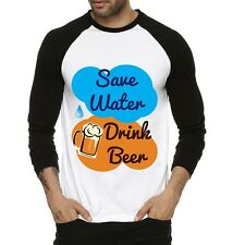 Fanideaz Mens Save Water Drink Beer Full Sleeve Raglan T-Shirt Black (FMRF5180B)