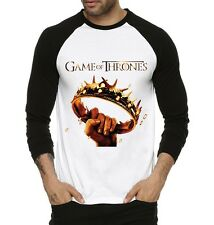 Fanideaz Mens Golden Crown Game Of Thrones Round Neck Raglon Tshirts (FMRF5224B)