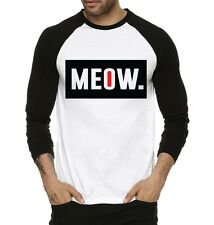 Fanideaz Men's Meow What.? Round Neck Raglon Tshirts Black (FMRF5239B)