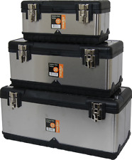 Large Tool Box Metal ToolBox Stainless Steel Toolboxes Workman Storage Cases NEW