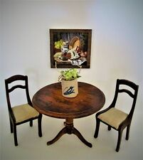 Dollhouse miniatures kitchen table set scale 1:12 with hand-painted framed pic.