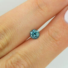Natural Loose Diamond 0.56 Carat Fancy Blue SI Enhanced Round Certified For Ring