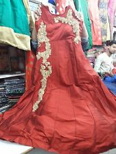 Readymade Anarkali Churidar Silk Gown Suit Full Sleeves Stitched Free Shipping