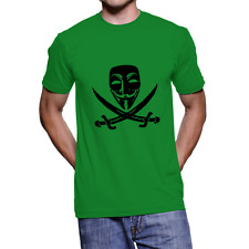 Fanideaz Mens Branded Round Neck Cotton V for Vendetta Green T-Shirt (FIMT0249G)