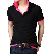 Fanideaz Men's Double Collar Premium Polo Black And Pink T-Shirt (FMDC0001PNK)