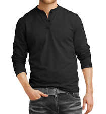 Fanideaz Men's Cotton Dark Melange Henley Full Sleeve T-Shirts (FIHN0266DM)
