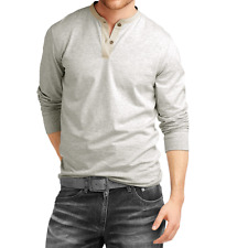Fanideaz Men's Cotton Grey Melange Henley Full Sleeve T-Shirts (FIHN0266GM)