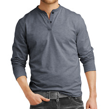 Fanideaz Men's Cotton Blue Melange Henley Full Sleeve T-Shirts (FIHN0266BM)