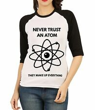 Fanideaz Women Science Atom Joke 3/4 th Sleeves Raglan Black T-Shirt (FW3R5199B)