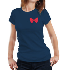 Fanideaz Women's Cotton Bow Tie Pink Navy Blue T-Shirt (FIWT0086NB)