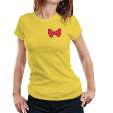 Fanideaz Women's Cotton Bow Tie Pink Yellow T-Shirt (FIWT0086Y)