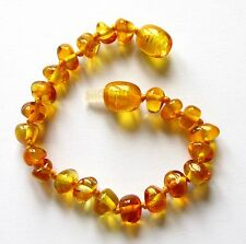 Genuine Baltic amber bracelet anklet children baby to teen size, big honey beads