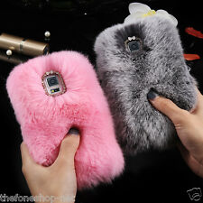 Sweet Look Rabbit Fur Rex Hard shell Back Cover Case For Samsung Galaxy Note 4